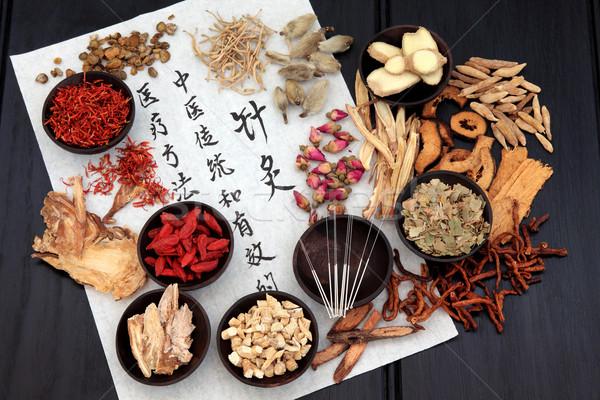 Acupuncture médecine alternative chinois phytothérapie aiguilles calligraphie Photo stock © marilyna
