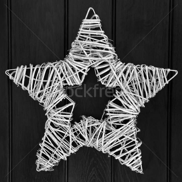 звездой венок серебро аннотация Рождества черный Сток-фото © marilyna