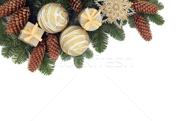 Рождества декоративный границе золото безделушка украшения Сток-фото © marilyna