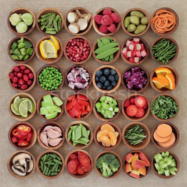 Super alimentare dieta verdure fresche frutta legno Foto d'archivio © marilyna