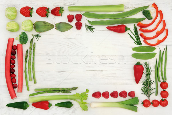 Red and Green Health Food Border Stock photo © marilyna