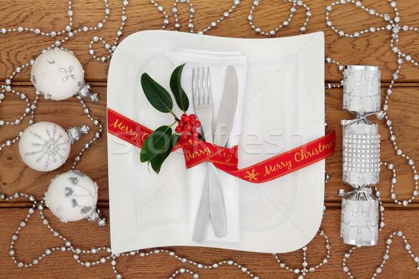Noel yemek masası beyaz kare plaka Stok fotoğraf © marilyna