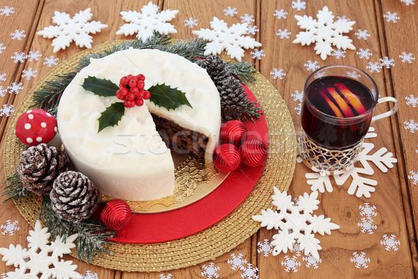 Foto d'archivio: Natale · torta · vino · neve · coperto · inverno