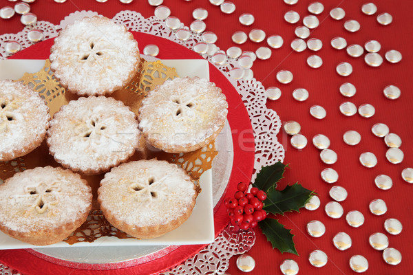 Mince Pies with Holly Stock photo © marilyna