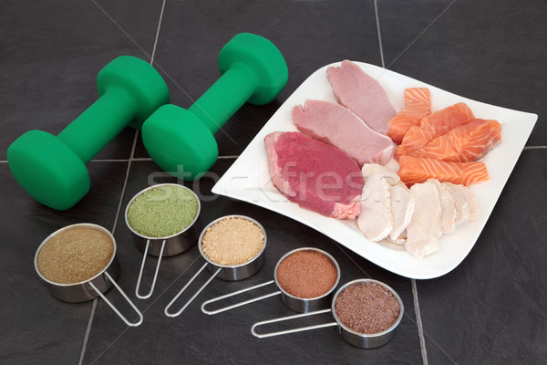 Body Building High Protein Food and Powders  Stock photo © marilyna