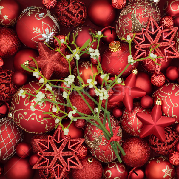 Christmas Baubles and Mistletoe Stock photo © marilyna