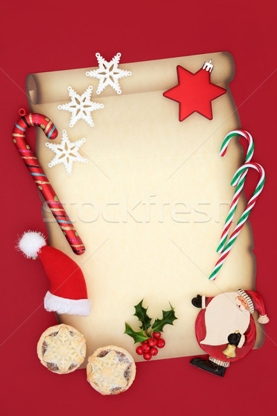 Stock fotó: Karácsony · levél · mikulás · mikulás · buli · meghívó · pergamen