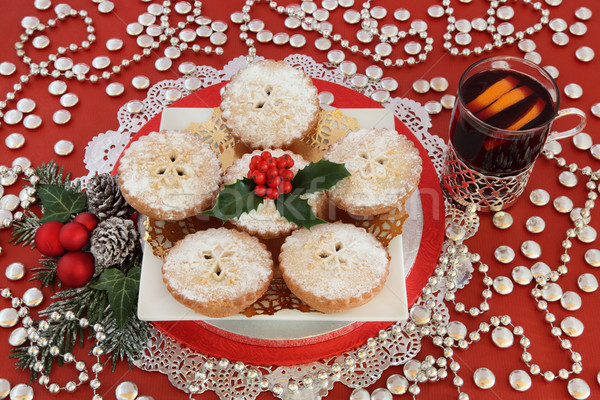 Stock photo: Mulled Wine and Mince Pies