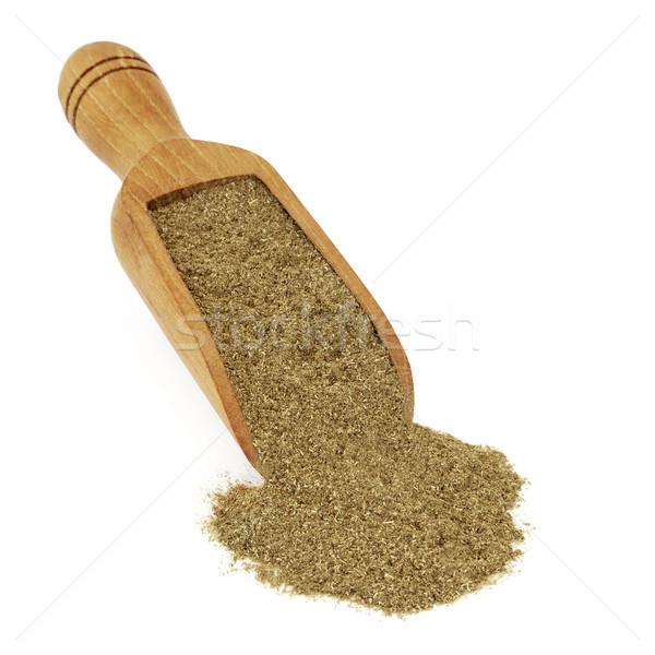 Gyógynövény por fából készült merítőkanál fehér használt Stock fotó © marilyna