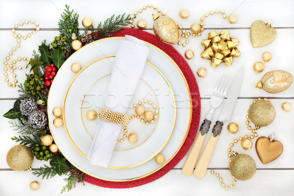 Stock photo: Christmas Dinner Place Setting