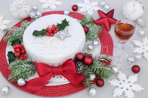 Jeges karácsony torta piros íj ital Stock fotó © marilyna