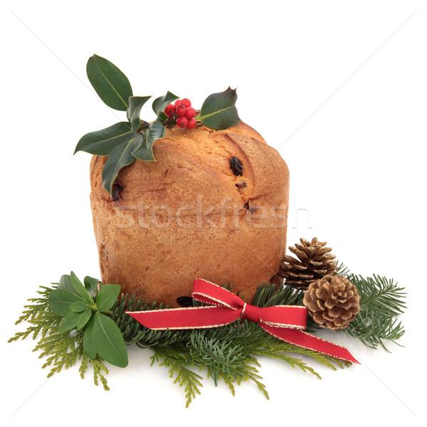 Stockfoto: Christmas · cake · ingericht · bes · blad · Blauw