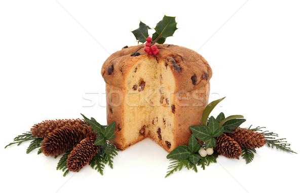 Stockfoto: Christmas · cake · decoratie · klimop · maretak