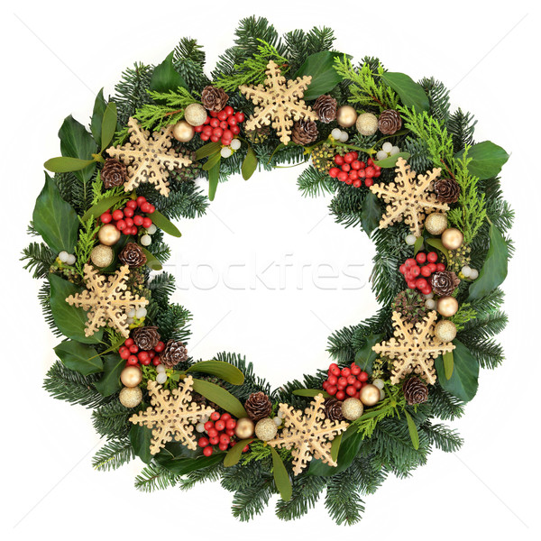 Stockfoto: Sneeuwvlok · krans · christmas · goud · snuisterij · decoraties
