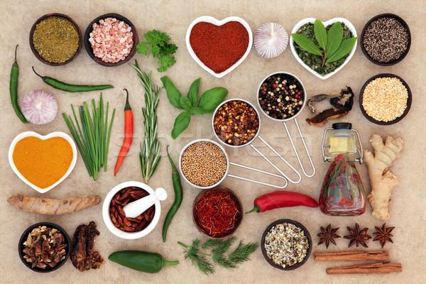 Gyógynövény fűszer étel öntet chilli olívaolaj Stock fotó © marilyna
