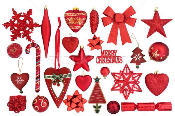 Rojo Navidad chuchería decoraciones símbolos blanco Foto stock © marilyna