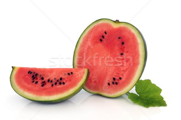 Foto stock: Sandía · frutas · mitad · trimestre · rebanadas · hoja