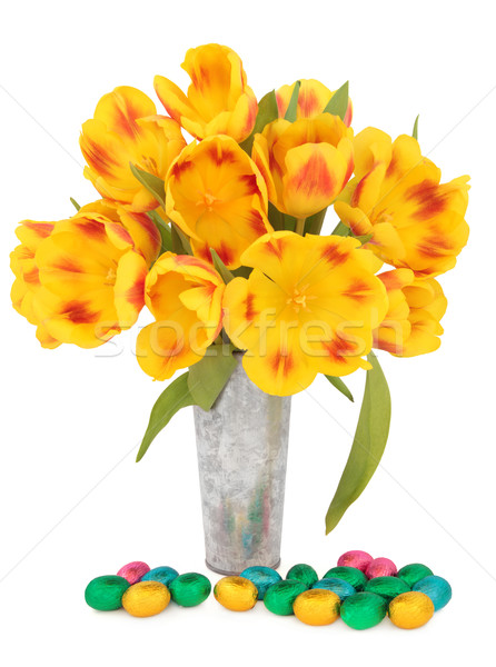 Paaseieren tulpen chocolade easter egg groep Rood Stockfoto © marilyna