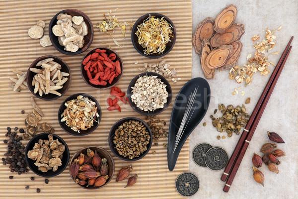 Akupunktur geleneksel Çin tıbbı iğneler Çin otlar Stok fotoğraf © marilyna