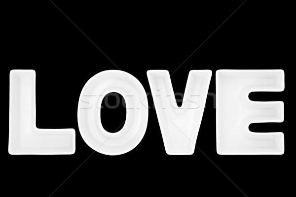 Amore bianco porcellana lettere nero Foto d'archivio © marilyna