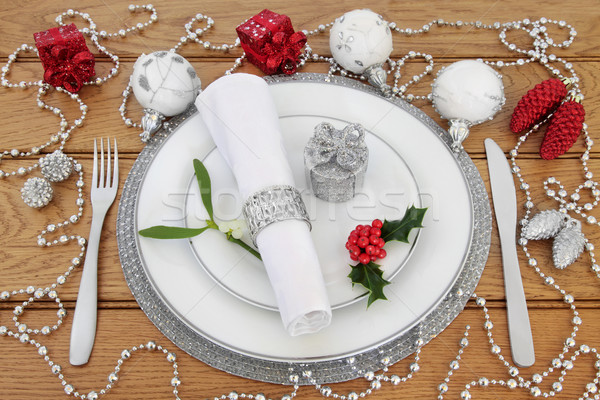Christmas Place Setting with Decorations Stock photo © marilyna