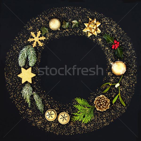 Christmas Glitter Wreath Garland Stock photo © marilyna
