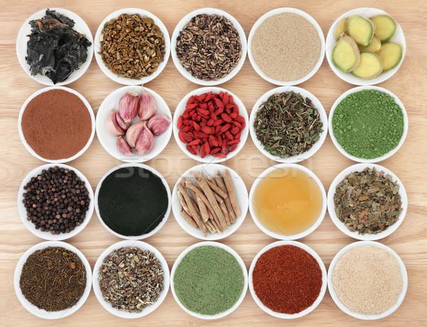 Egészség étel immúnis porcelán edények búza Stock fotó © marilyna