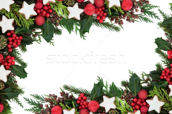 Pan de jengibre galleta frontera Navidad estrellas galletas Foto stock © marilyna