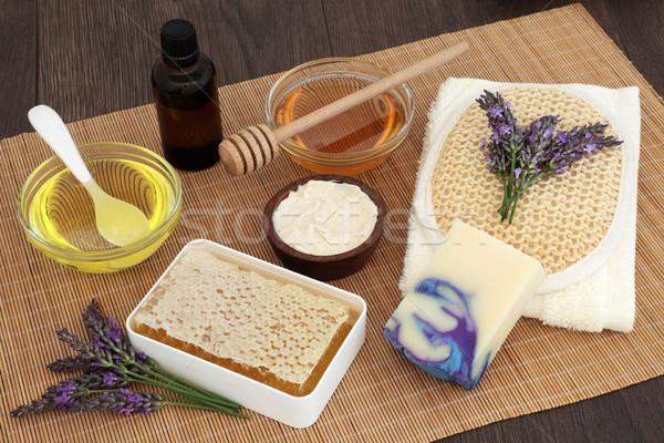 Lavande fleur miel amande pétrolières Photo stock © marilyna