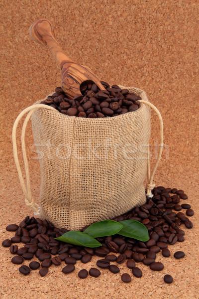 кофе мешок свободный лист оливкового древесины Сток-фото © marilyna