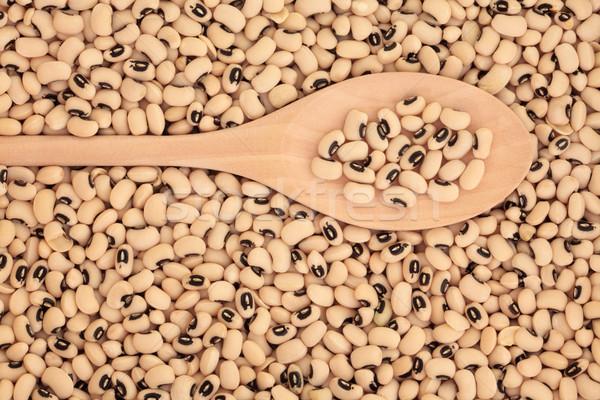 Preto ervilhas comida colher saudável Foto stock © marilyna