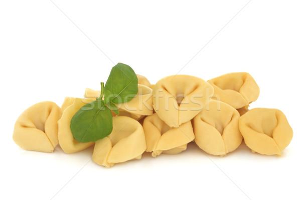 Tortellini tészta töltött prosciutto bazsalikom gyógynövény Stock fotó © marilyna