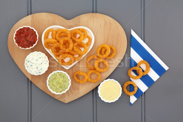 Onion Rings and Dips Stock photo © marilyna