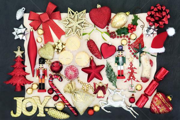 Weihnachten Spielerei Dekorationen Gold Freude Zeichen Stock foto © marilyna