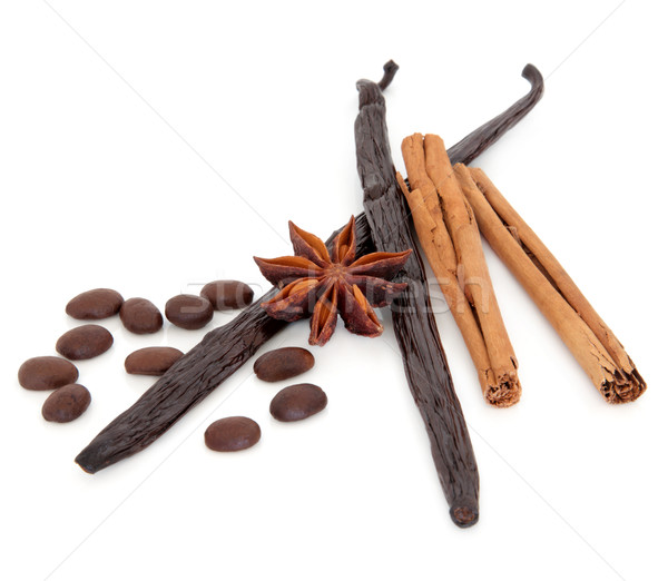 Coffee Vanilla Pods Cinnamon and Star Anise Stock photo © marilyna