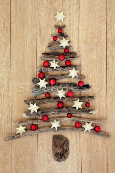 Driftwood choinka star czerwony cacko dekoracje Zdjęcia stock © marilyna