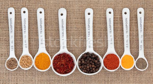 Baharat beyaz Çin kaşık ölçüm gıda Stok fotoğraf © marilyna