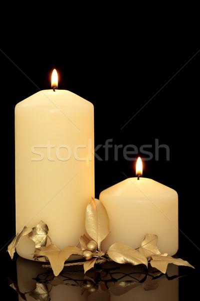 Рождества свечей плющ ягодные лист Сток-фото © marilyna