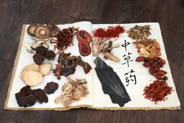 Chinese Herbs and Acupuncture Needles  Stock photo © marilyna