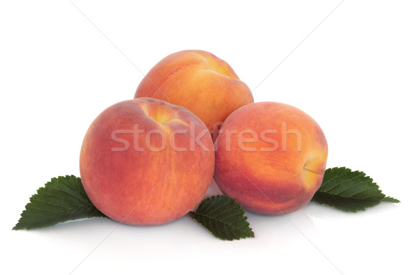 персики персика фрукты лист изолированный белый Сток-фото © marilyna