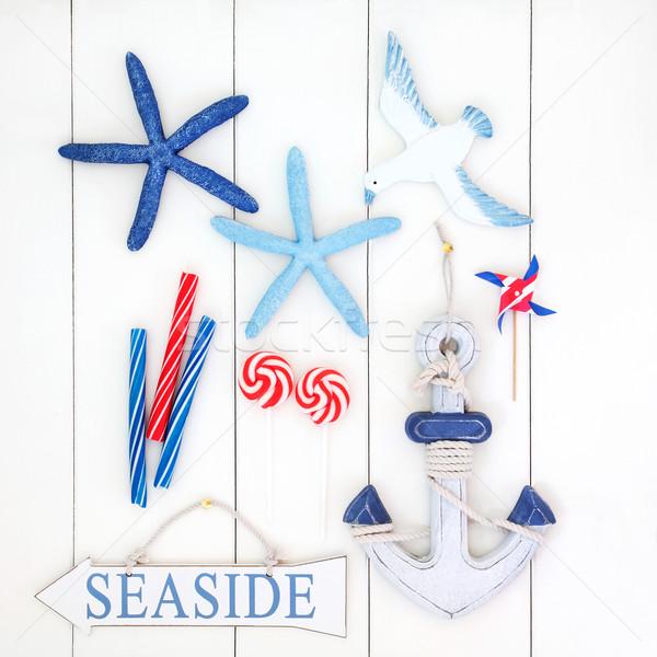 Beira-mar abstrato colagem assinar decorativo starfish Foto stock © marilyna