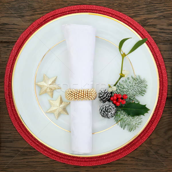 Christmas Decorative Plate Setting Stock photo © marilyna