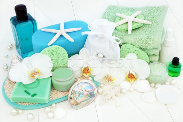 Fürdőszoba fürdő szépségápolás orchidea virágok tea Stock fotó © marilyna