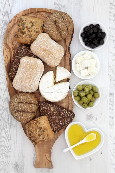 Bread Cheese and Olives Stock photo © marilyna