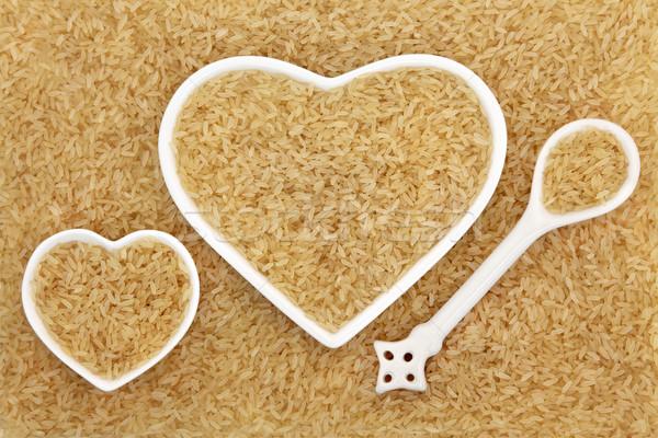 Foto stock: Largo · grano · marrón · arroz · corazón