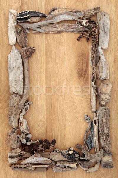 Wyblakły driftwood granicy streszczenie dąb drewna Zdjęcia stock © marilyna