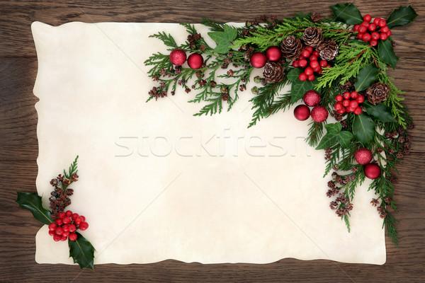 Foto d'archivio: Stagionale · confine · Natale · floreale · rosso · gingillo