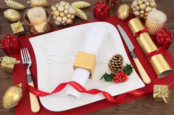 Christmas Dinner Place Setting Stock photo © marilyna