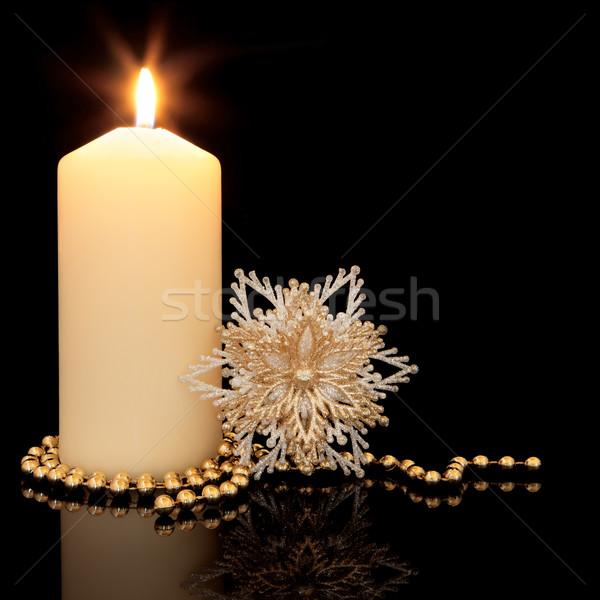 Рождества украшение золото цепь снежинка Сток-фото © marilyna