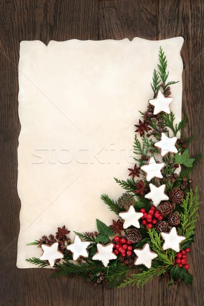 Photo stock: Pain · d'épice · cookie · frontière · Noël · résumé · star